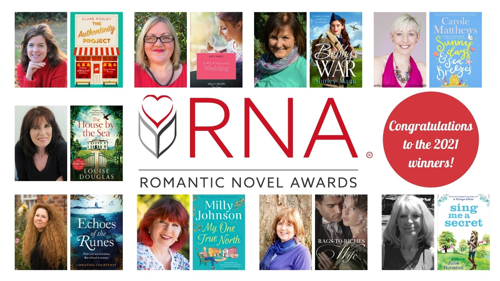 Book covers and profile pics of the w RONA 2021 winners