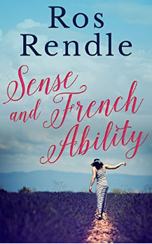 The cover of Sense and French Ability showing a woman walking through a lavender field.