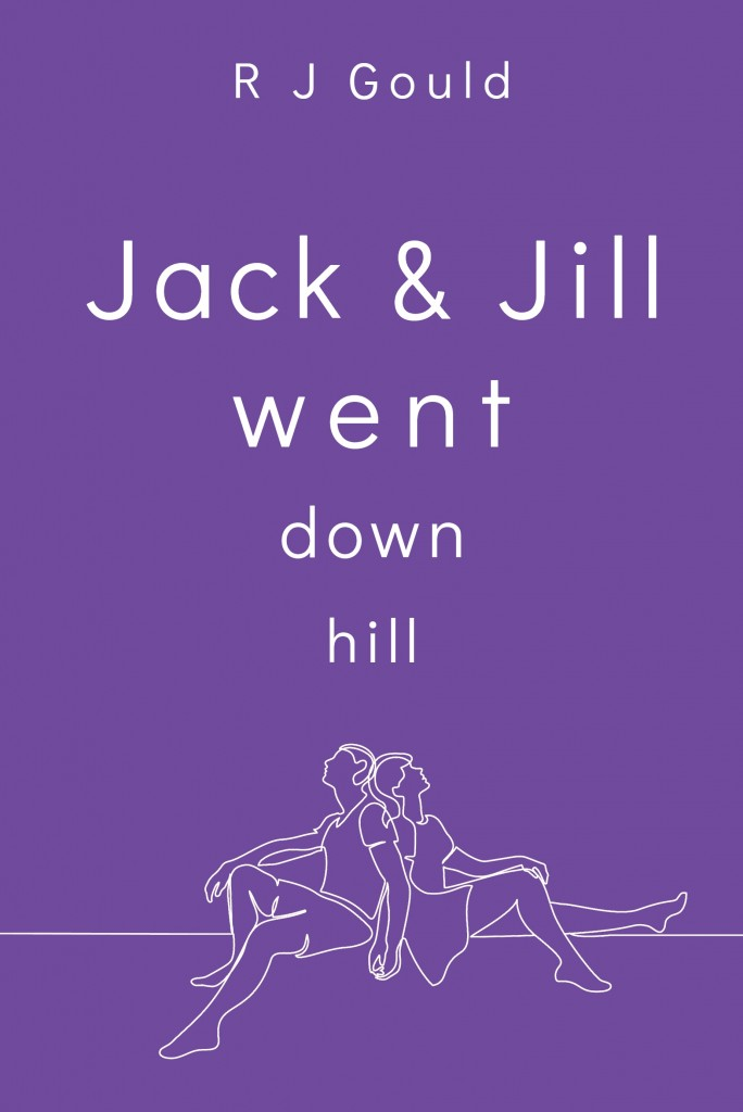 The cover of Jack and Hill Went Downhill. A purple background with the title and outline illustration of a couple in white.