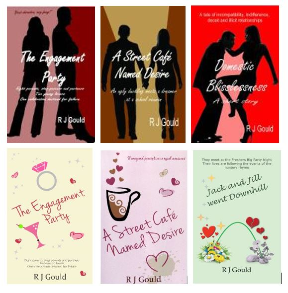 A selection of R J Gould's book covers, the first showing silhouettes of a couple on bold backgrounds, the next in pastel shades with illustrations of coffee cups and diamond rings.