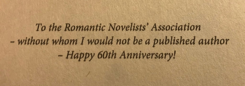 The the Romantic Novelists' Association - without whom I would not be a published author. Happy 60th Anniversary!
